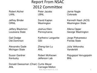Report From NSAC 2012 Committee