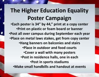 The  Higher  E ducation  E quality  Poster Campaign