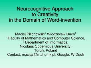 Neurocognitive Approach  to Creativity  in the Domain of Word-invention
