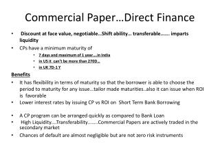 Commercial Paper…Direct Finance
