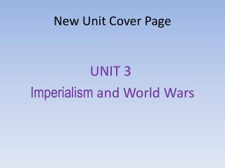 New Unit Cover Page