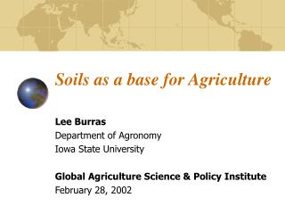 Soils as a base for Agriculture