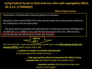 Using Federal Funds to limit land-use rules with  segregative  effect:  42 U.S.C. § 5304(b)(2)