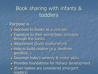 Book sharing with infants & toddlers