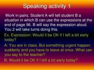 Speaking activity 1