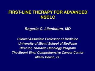 FIRST-LINE THERAPY FOR ADVANCED NSCLC