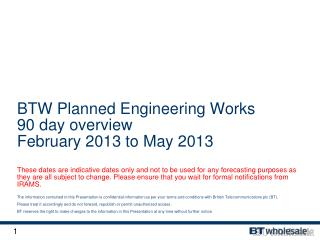 BTW 2012 Network Changes – 3 month rolling plan