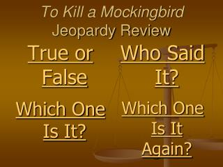To Kill a Mockingbird Jeopardy Review