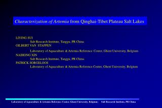 Characterization of Artemia  from Qinghai-Tibet Plateau Salt Lakes