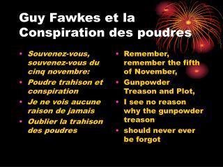 Guy Fawkes et la Conspiration des poudres