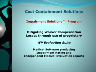 Cost Containment Solutions