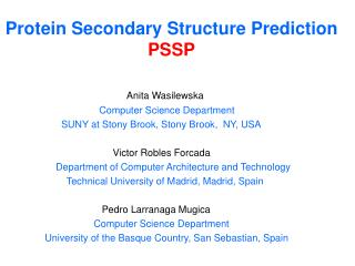 Protein Secondary Structure Prediction  PSSP