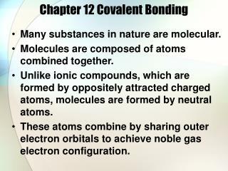Chapter 12 Covalent Bonding