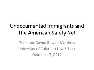 Undocumented Immigrants and The  American Safety Net