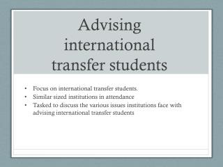 Advising international transfer students