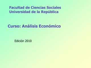 Curso: Análisis Económico