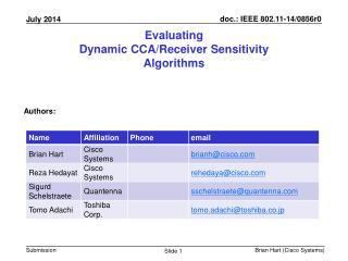 Evaluating  Dynamic CCA/Receiver Sensitivity  Algorithms