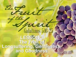 LESSON 3 The Fruit of Longsuffering, Gentleness, and Goodness