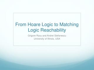 From Hoare Logic to Matching Logic Reachability
