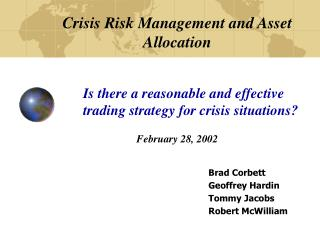 Crisis Risk Management and Asset Allocation