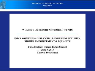 WOMEN'S UN REPORT NETWORK - WUNRN