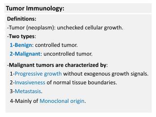 Tumor Immunology: