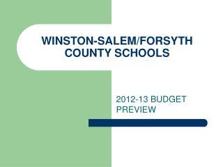 WINSTON-SALEM/FORSYTH COUNTY SCHOOLS