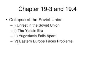 Chapter 19-3 and 19.4