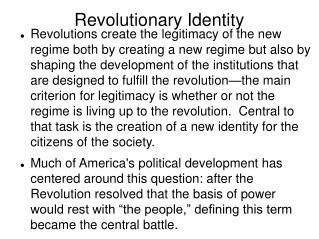 Revolutionary Identity