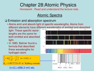 Chapter 28:Atomic Physics