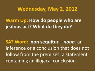 Wednesday , May  2,  2012