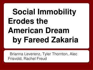 Social Immobility Erodes the American Dream by Fareed Zakaria