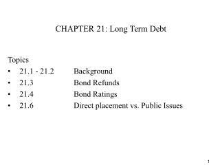 CHAPTER 21: Long Term Debt