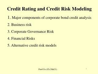 Credit Rating and Credit Risk Modeling