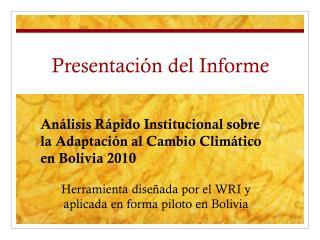 Presentación del Informe