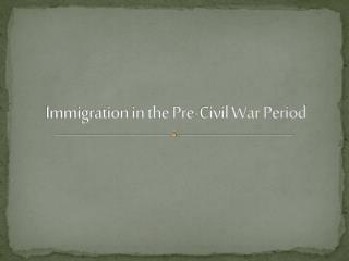 Immigration in the Pre-Civil War Period