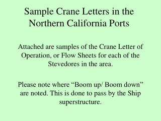 Sample Crane Letters in the Northern California Ports
