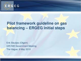 Pilot framework guideline on gas balancing – ERGEG initial steps