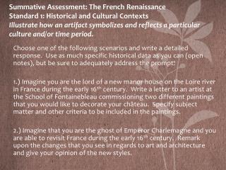 french renaissance summative