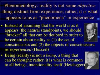 Phenomenology: reality is not some objective thing distinct from experience; rather, it is what appears to us as  phenom