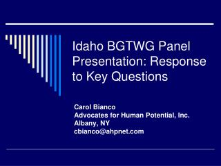 Idaho BGTWG Panel Presentation: Response to Key Questions