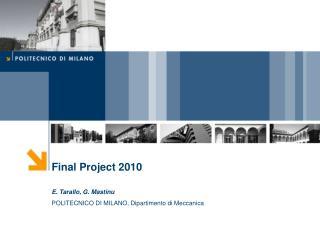 Final Project 2010 E. Tarallo, G. Mastinu POLITECNICO DI MILANO, Dipartimento di Meccanica