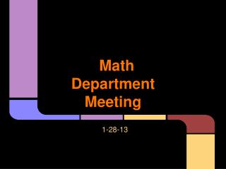 Math Department Meeting