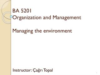 BA 5201 Organization and Management Managing the environment