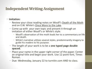 Independent Writing Assignment