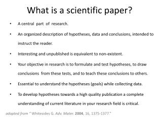 What is a scientific paper?