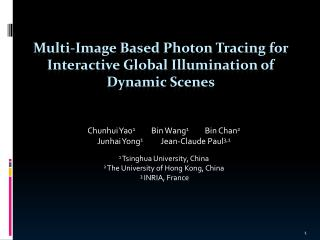 Multi-Image Based Photon Tracing for Interactive Global Illumination of Dynamic Scenes