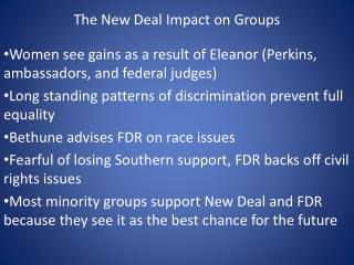 The New Deal Impact on Groups