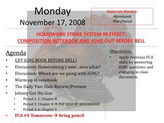Monday November  17,  2008