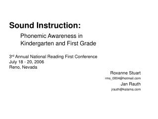 Sound Instruction: Phonemic Awareness in Kindergarten and ...